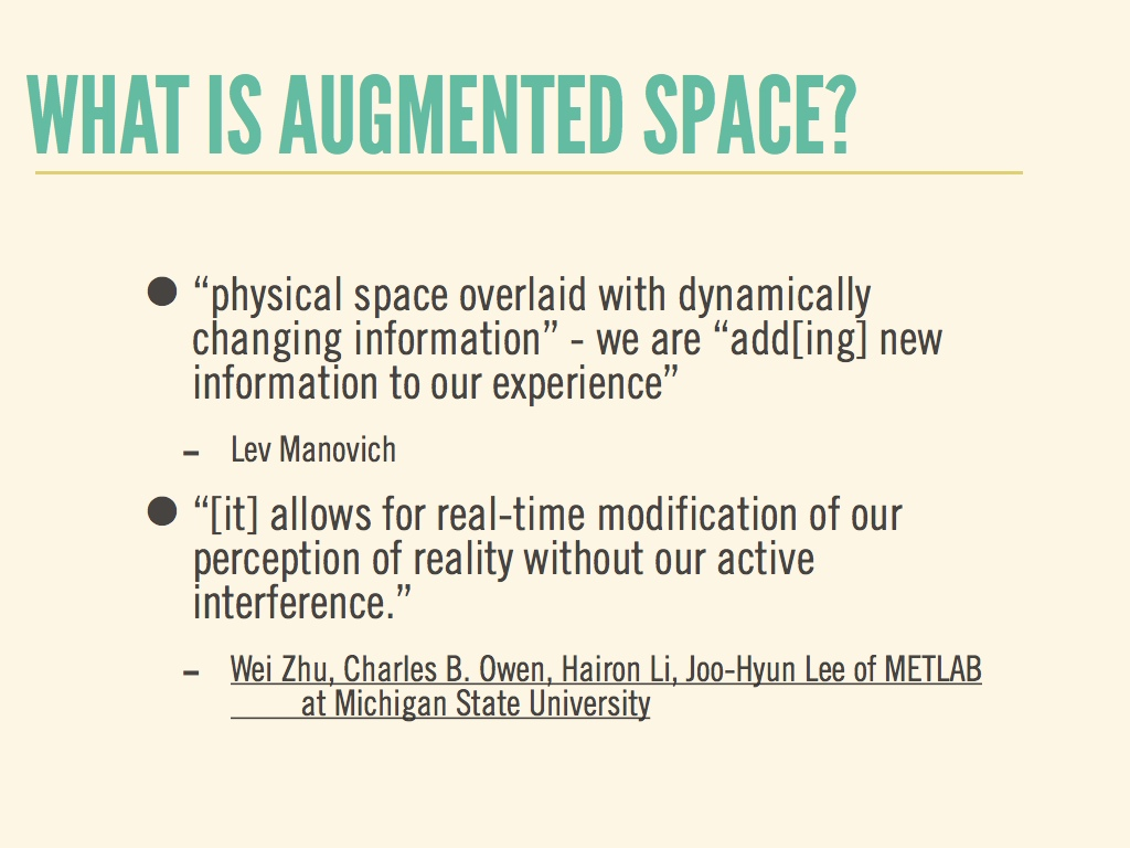 1: what is augmented space?